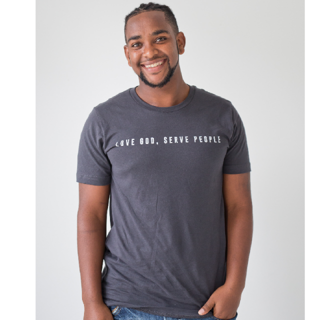 Ordinary Hero Dark Grey Tee- Love God, Serve People