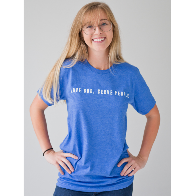 Ordinary Hero Heather True Royal Tee- Love God, Serve People