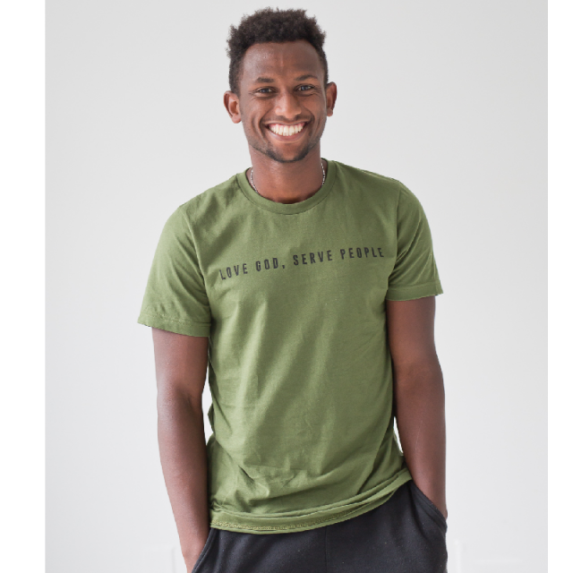 Ordinary Hero Olive Tee- Love God, Serve People